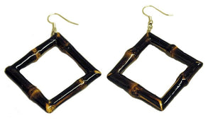 Bamboo Square Earrings - Dark