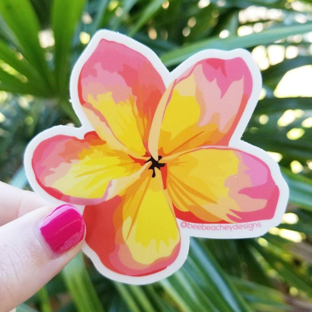 Bee Beachy Stickers  - Peach Plumeria