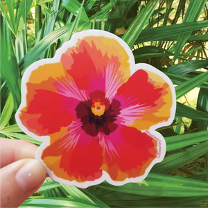 Bee Beachy Stickers - Red Hibiscus