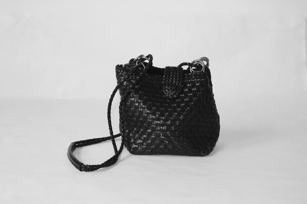 Black Leather Woven Purse