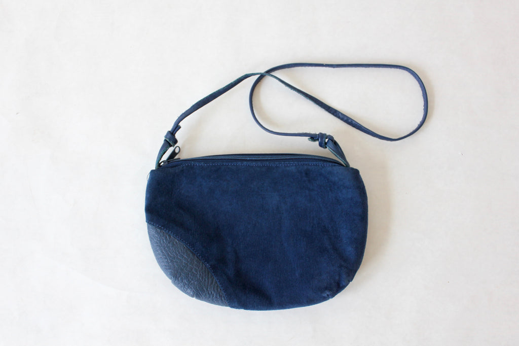 Blue Suede Simple Saddle Bag