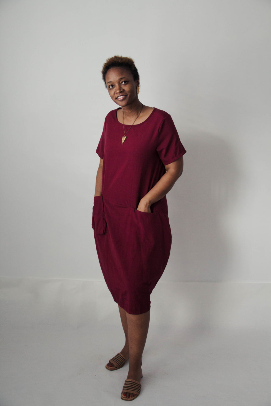 Burgundy Asymmetrical Pocket Dress