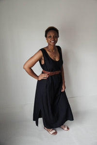 Black Button Maxi Dress