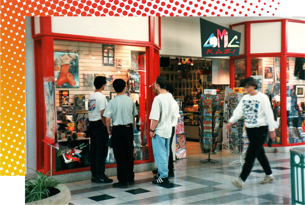 Comic-Kazi Comic Book Store in 1994 when it first opened. Located in a community mall next to an arcade.