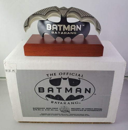 batarang mini prop on wooden base