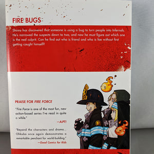 Back cover of Fire Force Volume 4. From the creator of Soul Eater. By Atsushi Ohkubo.