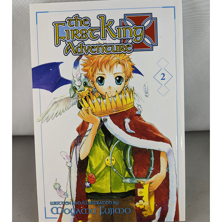 Front cover of The First King Adventure Volume 2. Manga by Moyamu Fujimo.