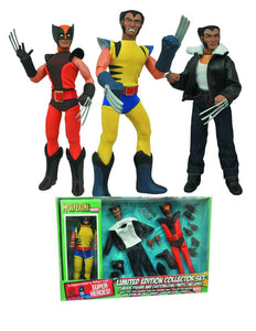 Marvel Wolverine 8-Inch Retro Action Figure Set of 3. First figure is Wolvering in a red/orange suit. The second figure is wolverine in his classic yellow. The third figure is Logan wearing his leather jacket with a wool collar and jeans. Limited edition collector set with interchangeable parts.