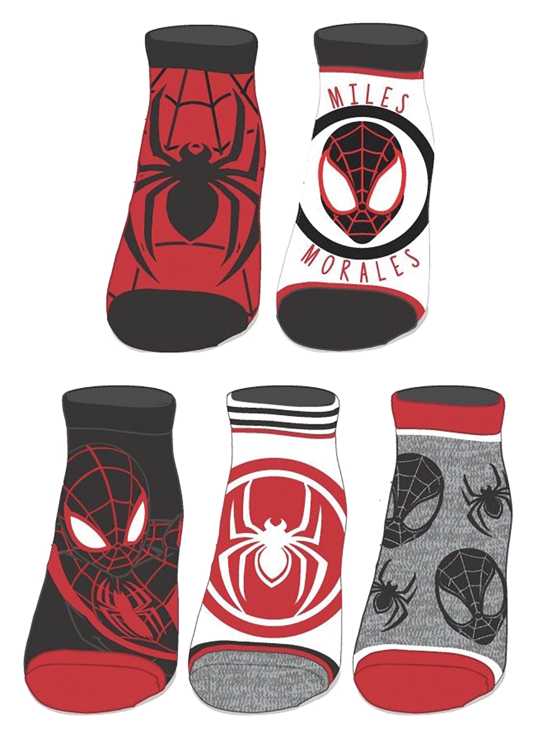 Spider-Man Miles Morales 5 Pack Ankle Socks