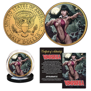 Vampirella #4 Stanley Artgerm Lau Collectible 24K Gold Plated Coin with Acrylic Coin Capsule