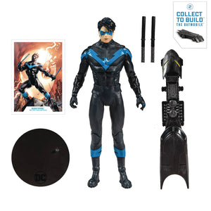 DC Multiverse Nightwing 7 Inch Scale Action Figure with Part #2 Build-A Rebirth-Batmobile
