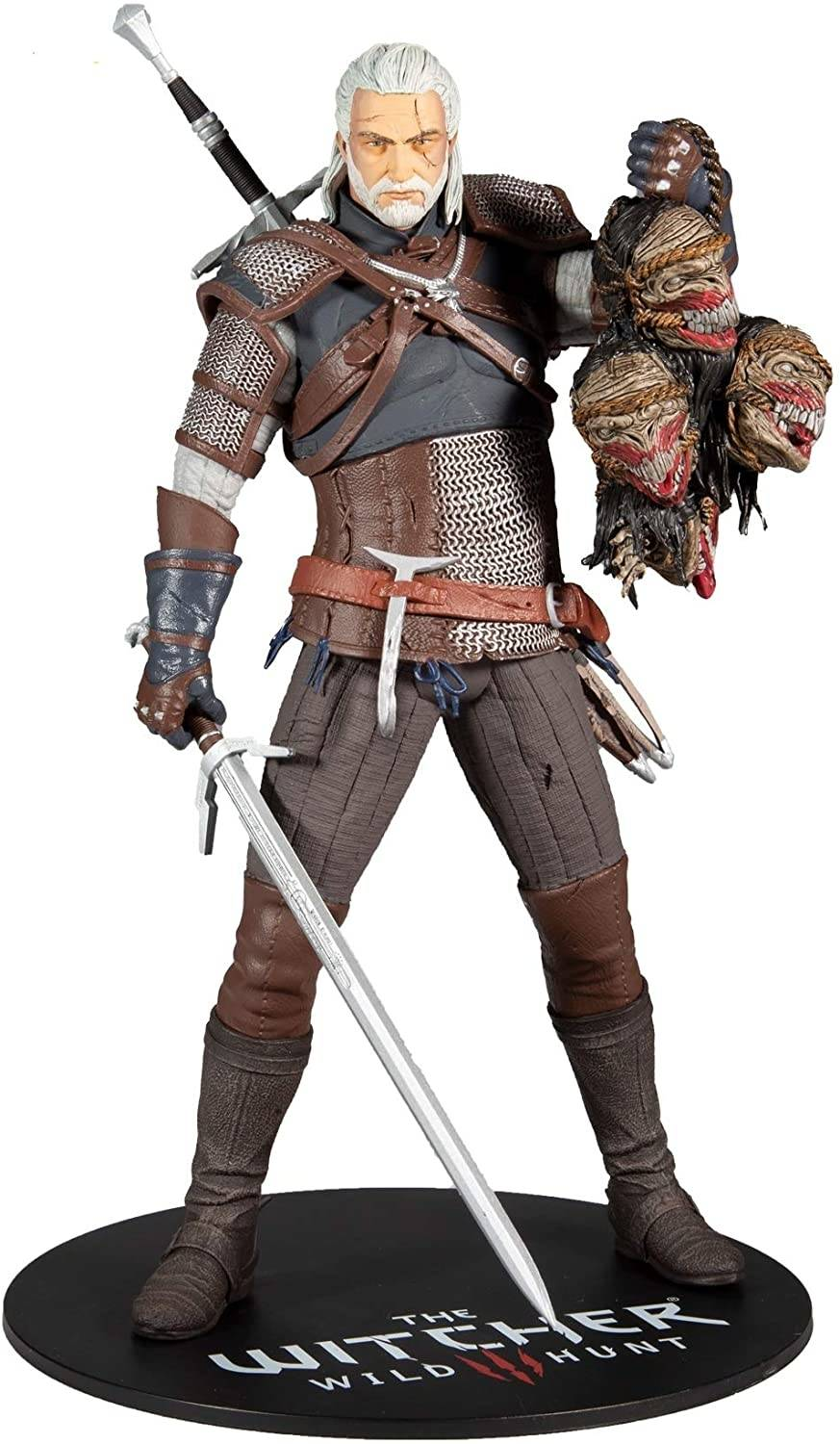 Witcher Geralt Of Rivia 12 Inch Scale PVC Action Figure with classic armor, sword and trophies