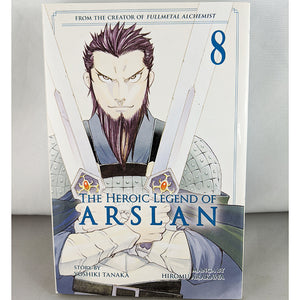 Front cover of The Heroic Legend of Arslan Volume 8. Manga by Hiromu Arakawa and Yoshiki Tanaka.