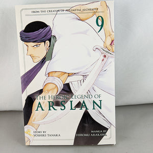 Front cover of The Heroic Legend of Arslan Volume 9. Manga by Hiromu Arakawa and Yoshiki Tanaka.
