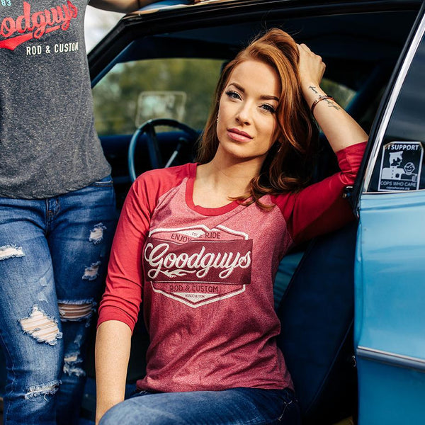 2018 women's red road trip baseball raglan T-shirt - back