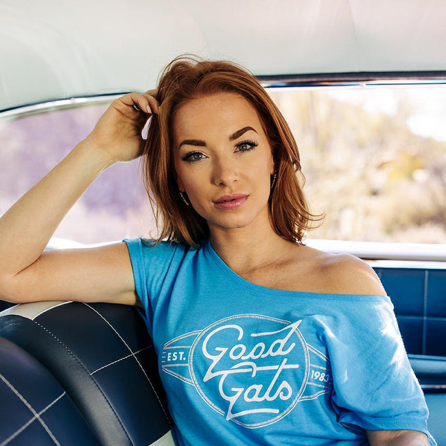 2018 women's good gals pastel racer T-shirt - back