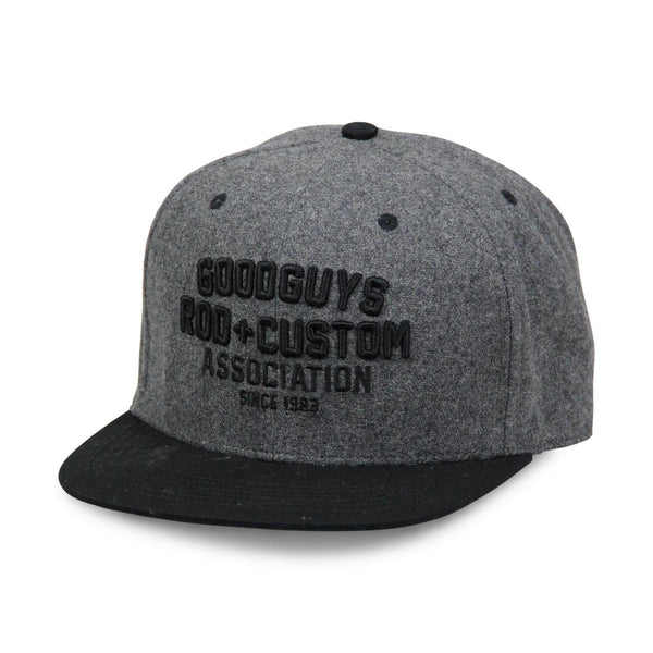 2018 men's gray and black flat bill snapback hat - front