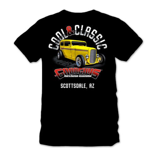 goodguys fall 2018 southwest nationals scottsdale cool & classic black t-shirt - front