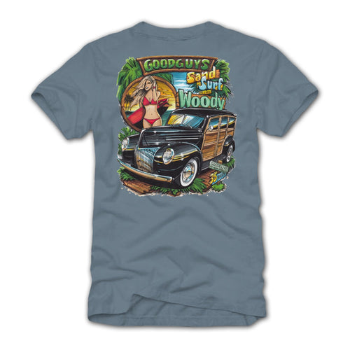 2018 men's woody wagon pinup graphic T-shirt - front