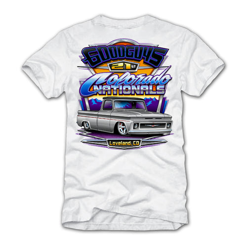 goodguys fall 2018 colorado nationals loveland white t-shirt - front
