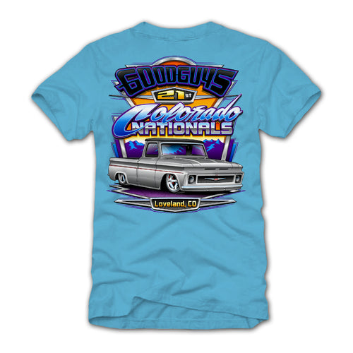 goodguys fall 2018 colorado nationals loveland blue t-shirt - front