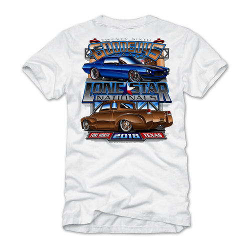 goodguys fall 2018 lone star nationals fort worth white t-shirt - front