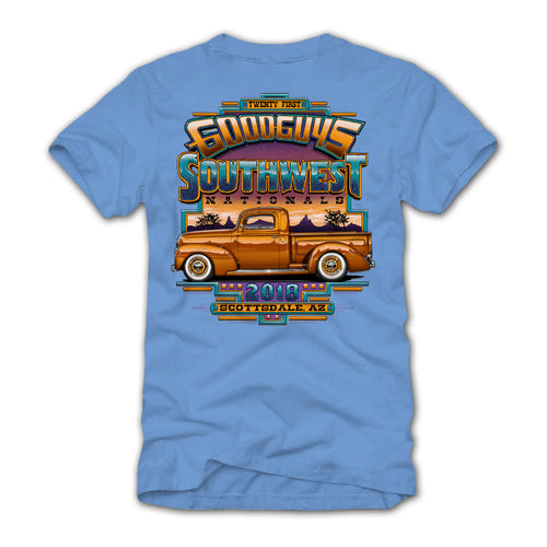 goodguys fall 2018 southwest nationals scottsdale blue t-shirt - front