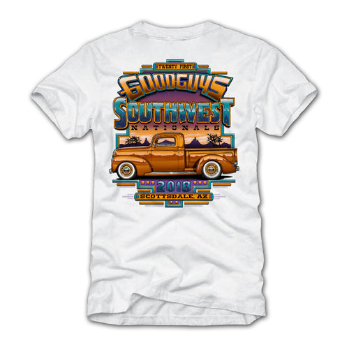 goodguys fall 2018 southwest nationals scottsdale white t-shirt - front