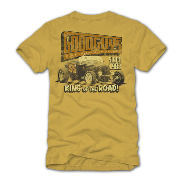 Goodguys Mens King of The Road Mustard Tee - Back