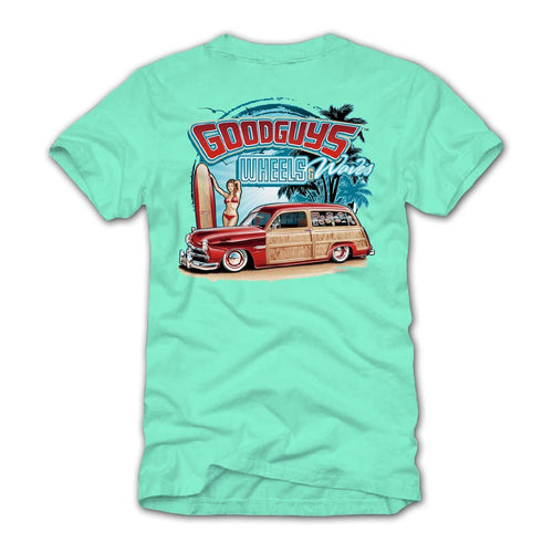 Goodguys Mens Wheels and Waves Mint Tee - Back