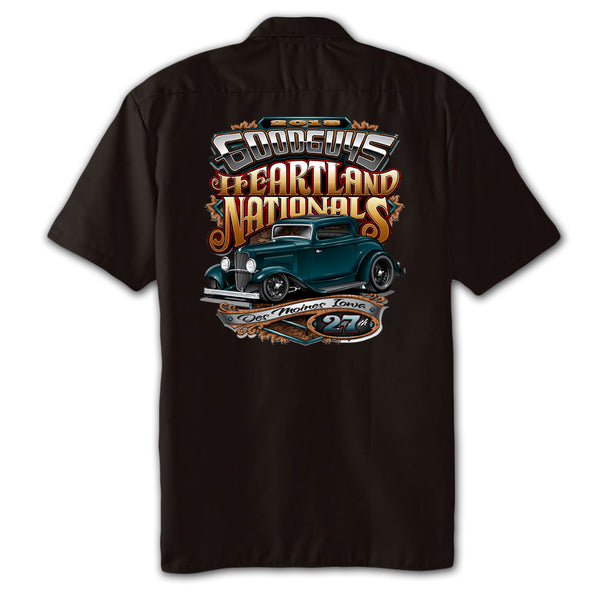 2018 heartland nationals des moines men's garage shirt - front