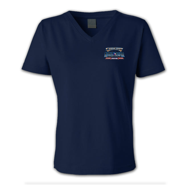 goodguys fall 2018 lone star nationals fort worth women's v-neck t-shirt - back
