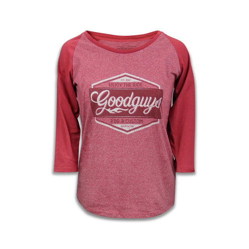2018 women's red road trip baseball raglan T-shirt - front