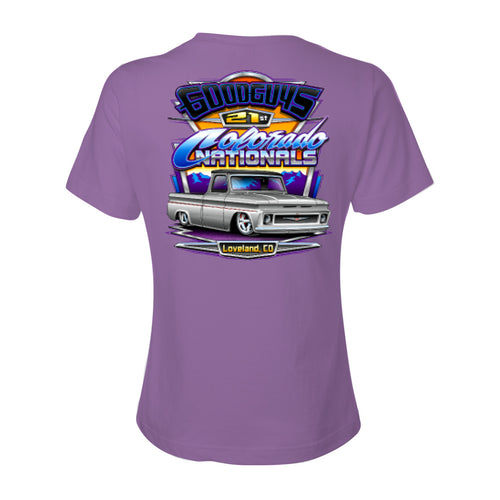 goodguys fall 2018 colorado nationals loveland ladies' t-shirt - front