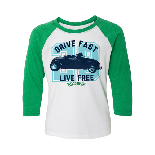 DRIVE FAST LIVE FREE T-SHIRT-Youth Tees-Shop Goodguys