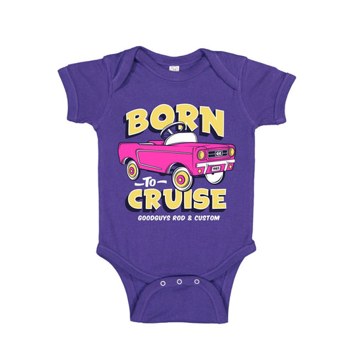 BORN TO CRUISE ONESIE - PURPLE-Youth Tees-Shop Goodguys