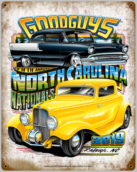 2019 NORTH CAROLINA NATIONALS TIN WALL ART-Novelties-Shop Goodguys