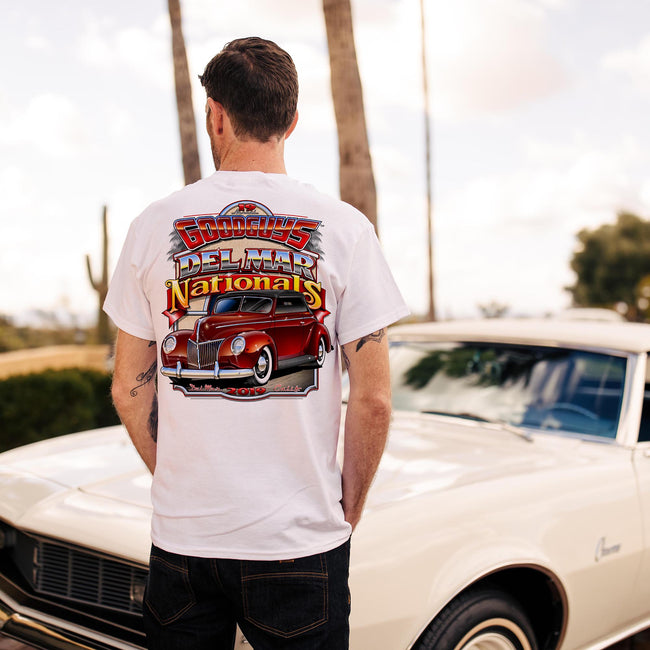Goodguys mens 2019 del mar white event exclusive t-shirt back- lifestyle