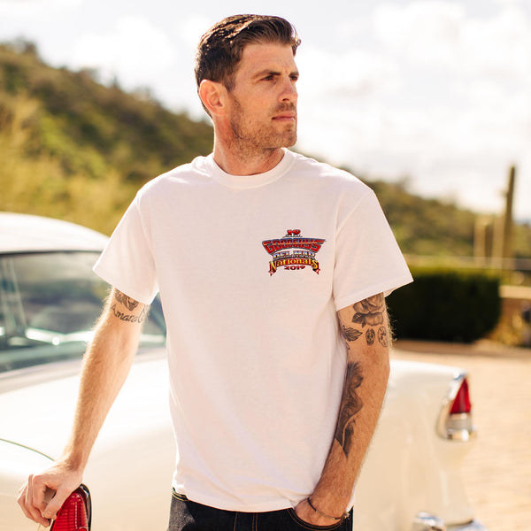 Goodguys mens 2019 del mar white event exclusive t-shirt front - lifestyle