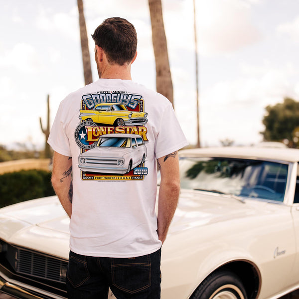 Goodguys mens 2019 spring lone star fort worth white event exclusive t-shirt back - lifestyle