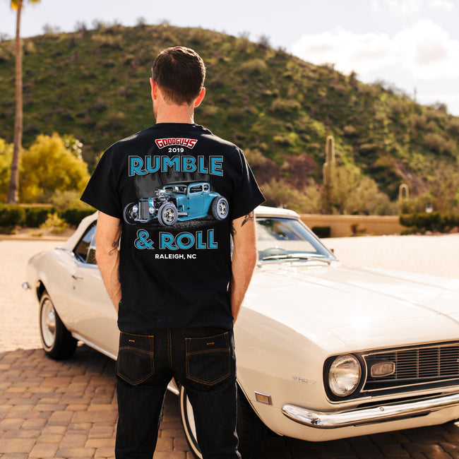 Goodguys mens 2019 north carolina nationals rumble and roll t-shirt back - lifestyle