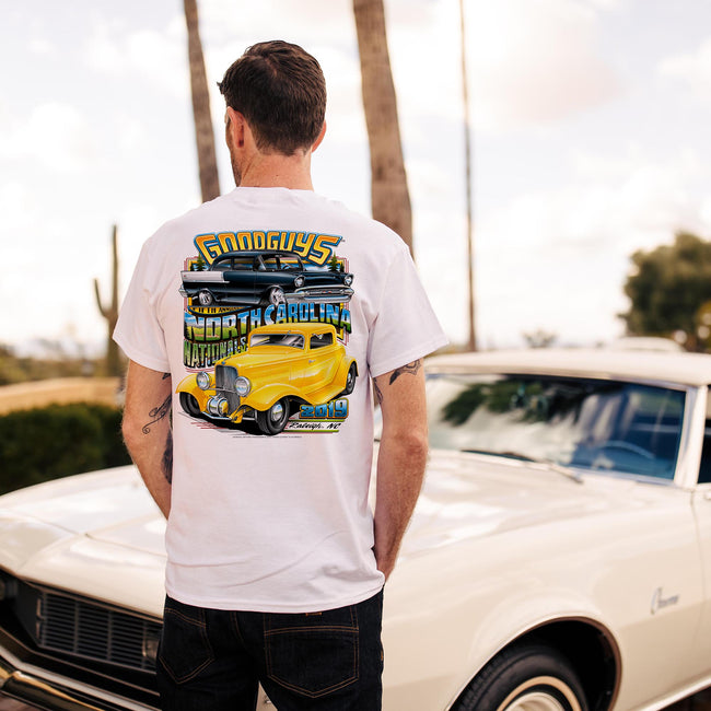 Goodguys mens 2019 north carolina nationals white event exclusive t-shirt back - lifestyle
