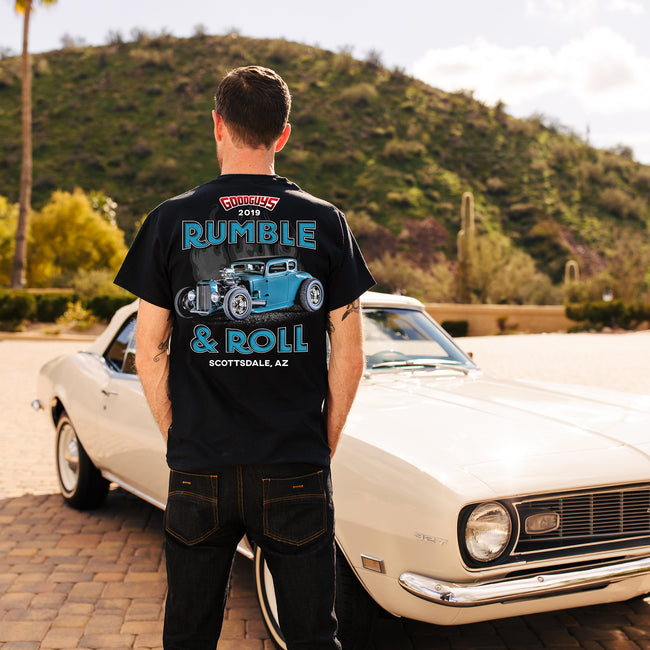 Goodguys mens 2019 spring nationals rumble and roll t-shirt back - lifestyle
