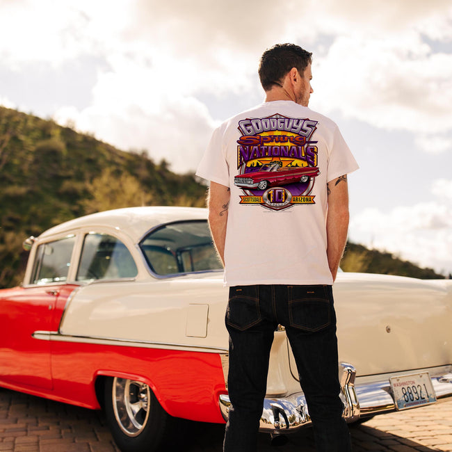 Goodguys mens 2019 spring spring nationals white event exclusive t-shirt back - lifestyle