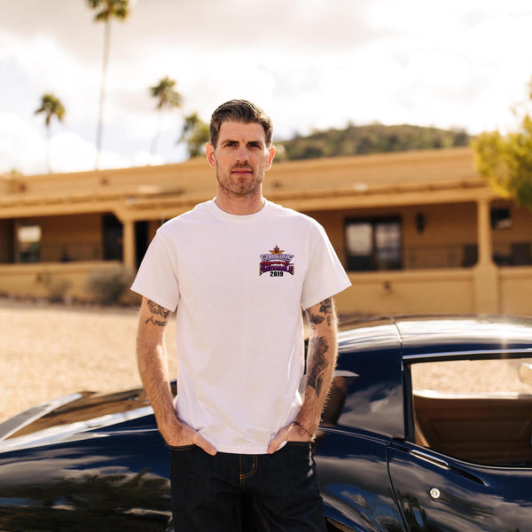 Goodguys mens 2019 spring spring nationals white event exclusive t-shirt front - lifestyle