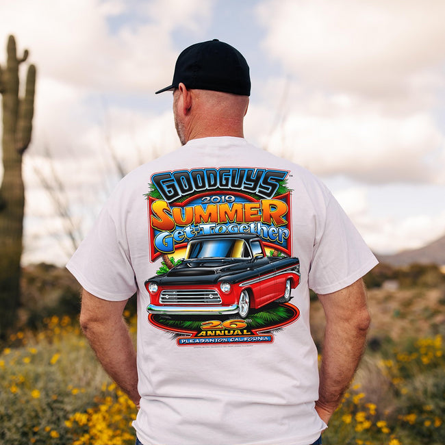 2019 Goodguys Summer Get-Together White Event Exclusive T-Shirt - Lifestyle - Back