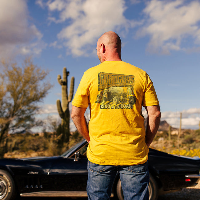 Goodguys Mens King of The Road Mustard Tee - Front - Lifestyle