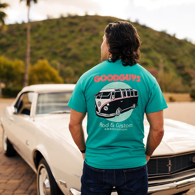 Goodguys Mens Super Bus Teal Tee - Front - Lifestyle