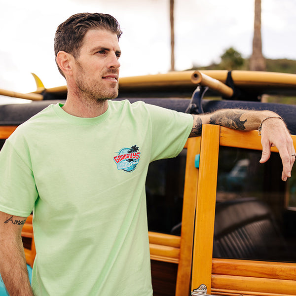 Goodguys Mens Wheels and Waves Mint Tee - Back - Lifestyle