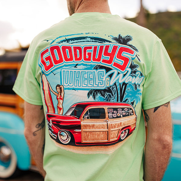 Goodguys Mens Wheels and Waves Mint Tee - Front - Lifestyle